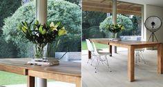 Table extensible ou fixe. Teck ou chêne massif. Choix de dimensions.