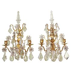 View this item and discover similar for sale at - Pair of high-quality gilt-bronze and crystal sconces with nice, large crystals and many crystal flowers, and poignards on top. The sconces retain their Crystal Sconce, Crystal Chandeliers, Wall Lights, Ceiling Lights, Chandelier Pendant Lights, Large Crystals, Vintage Lighting, Wall Sconces, Light Up