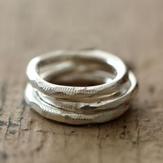 Set of 3 distressed stacking rings from Praxis Jewelry.