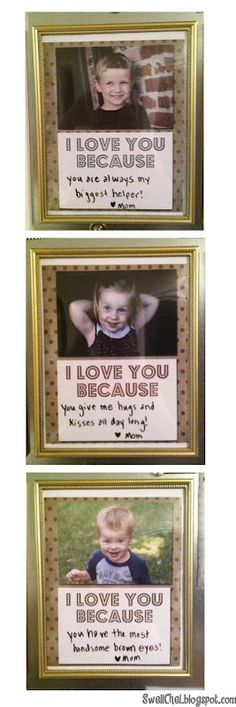 """""""I love you because ..."""" dry-erase picture frames with FREE download!"""