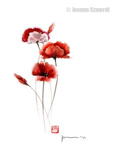 POPPIES Flowers Orange Red Poppy Flower GICLEE by ColorWatercolor, $25.00 #cherry on the #cake