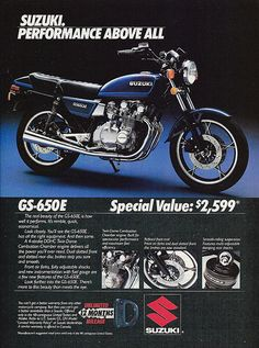 "Vintage Motorcycle Advertising: 1982 Suzuki GS-650E, ""Suzuki. Performance Above All"", Cycle World, January 1982."