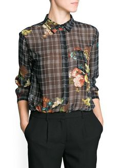 Black Lapel Long Sleeve Plaid Floral Blouse - Sheinside.com