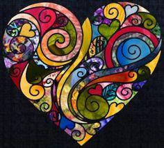Colorful heart swirl design