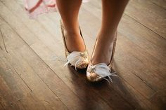 Glitter shoes + feather clip on!