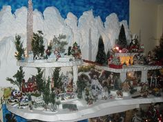 Miniature Christmas Village Displays | Carved styrofoam Dept 56 Christmas Village Display
