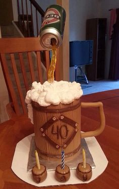 Beck& Beer Cake - This is a large mug with the can of Beck& beer on top. This cake was created by Marina Mitsevich. My favorite part of this cake is 40th Cake, Dad Cake, Fondant Cakes, Cupcake Cakes, Cupcakes, Beautiful Cakes, Amazing Cakes, Gravity Defying Cake, Cakes For Men