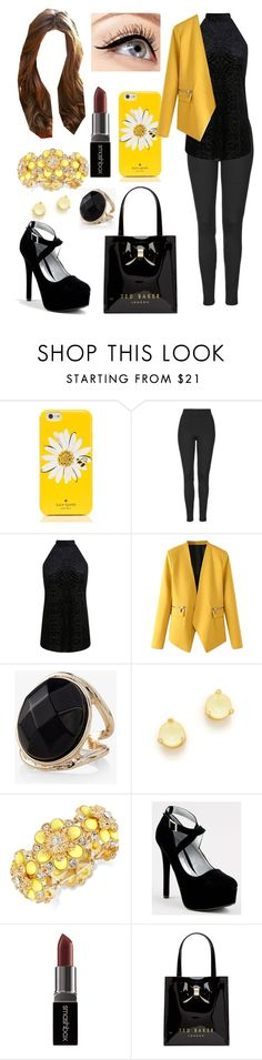 """Black & Yellow, Black & Yellow"" by leftorright ❤ liked on Polyvore featuring Kate Spade, Topshop, Miss Selfridge, WithChic, Express, Qupid, Smashbox, Ted Baker and Luminess Air"