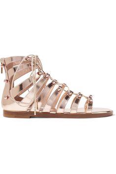 3f9facf5645 JIMMY CHOO Gigi Studded Metallic Leather Sandals.  jimmychoo  shoes  sandals  Gold Leather