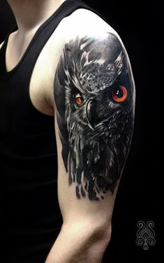 Tattoo Mariya Smirnova - tattoo's photo In the style Realistic, Male, Ow Forearm Cover Up Tattoos, Cover Up Tattoos For Men, Black Tattoo Cover Up, Cover Tattoo, Arm Tattoos For Guys, Body Art Tattoos, Hip Tattoos, Black Owl Tattoo, Belly Tattoos