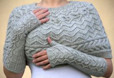 Shoulder neck warmer cable capelet with fingerless by SandrasMagic, $100.00