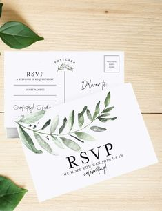 This Wedding RSVP Postcards features watercolor lush greenery Eucalyptus leaves, an elegant botanical design style for your wedding cards. Creative Wedding Invitations, Letterpress Wedding Invitations, Watercolor Wedding Invitations, Printable Wedding Invitations, Elegant Invitations, Wedding Invitation Design, Wedding Napkins, Wedding Rsvp, Wedding Cards