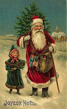 Shop Vintage French Santa Claus Greeting Card created by PrimeVintage. Victorian Christmas Decorations, Vintage Christmas Images, Christmas Scenes, Antique Christmas, Father Christmas, Santa Christmas, Christmas Postcards, Christmas Fashion, Vintage Holiday