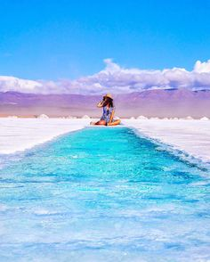 """Location: @manashika riding the blue carpet in las Salinas Grandes - Jujuy, Argentina. Photo Credit: @aiai0311"""
