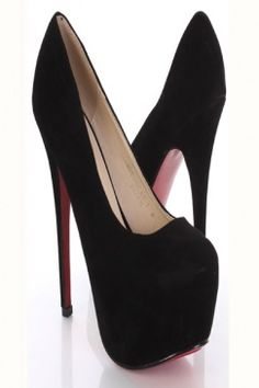 Simple black platform stilettos