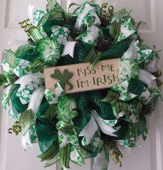 Happy St Patrick's Day, Shamrock Wreath, Kiss Me I'm Irish Wreath, Wreaths, Irish Wreath, Door Wreath,  St. Patrick's Day Wreath on Etsy, $67.50