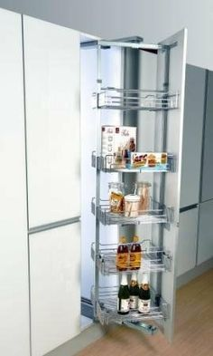 """Swivel Pull Out Pantry Adjustable Height w/ Soft Close Slides, for 73-1/4"""" to 86-5/8"""" high cabinet by HomeStorage. $589.00. 15-1/2"""" inches wide to fit in a 16"""" to 18"""" wide cabinet. Heavy duty construction holds up to 200 pounds. Soft close slides standard. Height is Adjustable from 73-¼"""" to 86-5/8"""". Depth is 19-1/4"""". This professional series pull out pantry unit is the ideal solution for cabinet organizational needs.  The newly upgraded slide and pivot hardware ..."""