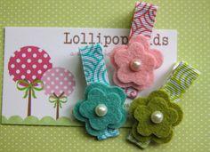 Toddler Hair Clip Baby Hair Clip Infant Hair Clip Kids Hair Clip Pink Blue Green Wool Felt Flower Hair Clip. $6.00, via Etsy.