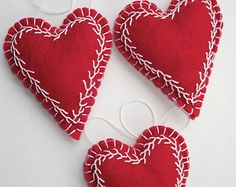 Trio of Red Embroidered Felt Heart Ornaments by MyDisgustedCats
