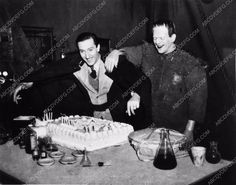 photo Boris Karloff Basil Rathbone with cake Son of Frankenstein 2298-05