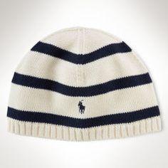 Rugby-Striped Cotton Skull Hat - Boys 8-20 Accessories - RalphLauren.com