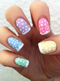 Pastel Dotted Nails with a squiggly French tip  ( #nailart #manicure #pedicure #mani #pedi #nailpolish)