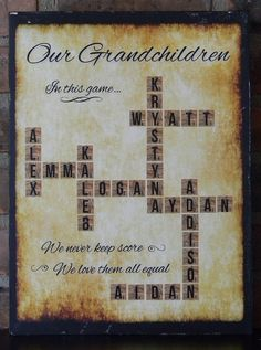 Personalized Scrabble Board on Wood ~ Mother's Day ~ Family / Grandchildren Names ~ Word Art ~ Father's Day ~ Grandparent's Day Scrabble Letter Crafts, Scrabble Tile Crafts, Scrabble Board, Scrabble Frame, Wood Crafts, Craft Gifts, Diy Gifts, Grandparent Gifts, Gift Ideas For Grandparents