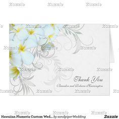 Hawaiian Plumeria Custom Wedding Thank You Cards