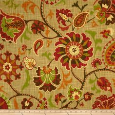 Waverly Siren Song Cayenne from @fabricdotcom  Screen printed on cotton slub duck (has the appearance of linen) this medium weight fabric is very versatile. This fabric is perfect for window treatments (draperies, curtains, valances, and swags), bed skirts, duvet covers, pillow shams, accent pillows, tote bags, aprons, slipcovers and upholstery. Colors include olive, red, brown, cream and sweet potato on a tan background.