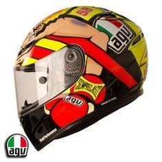 This is the Valentino Rossi 'Boxer' helmet that Rossi wore for the Misano 2012 MotoGP - http://replicaracehelmets.com/product/agv-gp-tech-valentino-rossi-misano-2012-helmet-boxer-helmet/