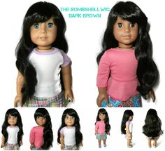 Our Bombshell girl doll wig in Dark Brown