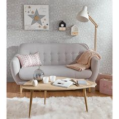 "Decorating Vintage Sofa ""Iceberg"" in grau von Maison du Monde Vintage Sofa, Vintage Coffee, Home Living Room, Living Room Decor, Bedroom Decor, Bedroom Sofa, Living Area, Scandinavian Sofas, Scandinavian Style"
