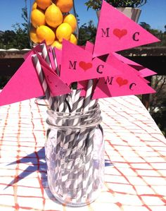 Engagement Party Monogrammed Straws