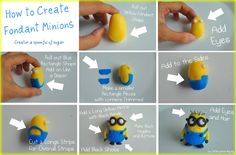 fondant minions - you could make these in polymer as well