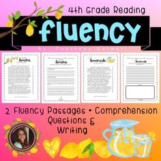 This product contains 2 original fluency passages about lemons, and making lemonade. There are also 3 comprehension and extension activities to accompany each. This package includes teacher copies that you can print in color and reuse. It also includes a black and white copies that you can print off... 2nd Grade Reading Worksheets, 4th Grade Reading, Reading Fluency, Reading Intervention, Comprehension Questions, Reuse, Lemonade, Teacher, Professor