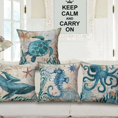 If you love the ocean then you will adore these pillow covers. These cushion covers bring the beauty of ocean creatures into your home. Coastal Bedrooms, Coastal Living Rooms, Linen Pillows, Cushions, Throw Pillows, Coastal Style, Coastal Decor, Nautical Home, Nautical Style