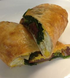Duck Bacon and Wilted Spinach Stromboli