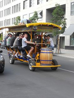 The summer constant - the stag parties complete with BierBike (yes that is a guy on top of the beer bike)