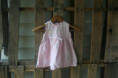 SALE Vintage Pink Linen Floral Dress Size 18 Months by vintapod