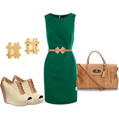 Work Style, created by dmk333 - Green dress
