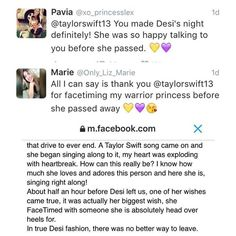 Sharing a new gram // Taylor FaceTimed with a young fan called Desi just before she passed away from cancer. #BelievingForDesi #taylorswiftupdates - - - #taylorswift #taylor #swift #swifties #swiftie#1989#shakeitoff#1989worldtour#the1989worldtour @taylorswift @taylornation by official.taylor.swift