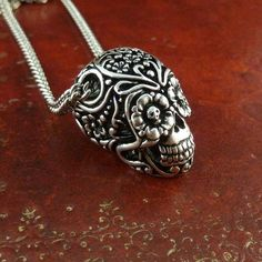 Day of the Dead Pendant Necklace on Antique Silver Chain - Worldwide Shipping Free - Sugar Skull