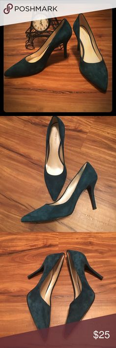 Nine West Teal Suede Heels No time to waste! These nine West heels have only been worn once! They are in amazing condition. Place an offer and happy poshing! Nine West Shoes Heels