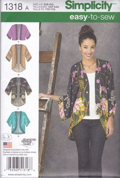 Simplicity 1318 Easy to Sew Misses' Modified Kimono by ChinenTwo