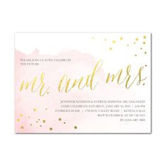 "Brides: Pink-and-Gold Engagement Party Invitation. ""Artful Celebration"" engagement party invitations, starting at $149 for 100 invitations, Wedding Paper Divas"
