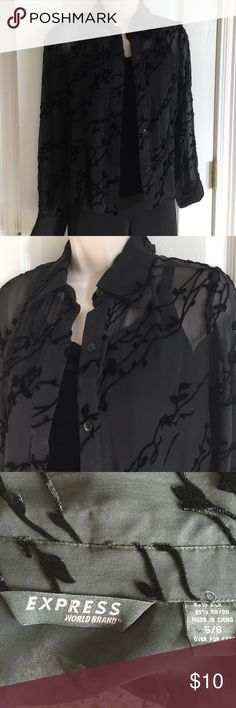 Express Top with velvety Cami Size 5/6 Sheer black blouse size 5/6 with a black velvety camisole from Maidenform, GUC from a non-smoking home Express Tops Blouses