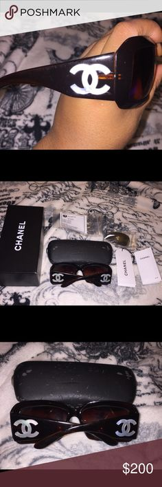 Chanel Mother of Pearl Sunglasses Bought these from another posher and added brand new lens!! They are good now.  Still a smudge or two but nothing noticeable.  Lenses perfect! See pics! CHANEL Accessories Sunglasses