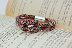 Kumihimo Love Knot Bracelet - multicolored cord knot bracelet with silver magnetic closure on Etsy, $14.00