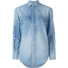 Saint Laurent distressed denim shirt ($790) ❤ liked on Polyvore featuring tops, shirts, blue, blue collar shirt, blue long sleeve top, yves saint laurent shirt, long-sleeve shirt and snap shirt