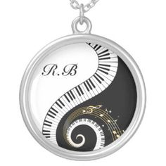 Monogram Piano Keys and  Musical Notes Silver Plated Necklace